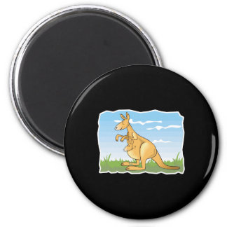 cute cartoon kangaroo and baby magnet