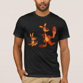 Cute Cartoon Kangaroo Dad and Son T-Shirt