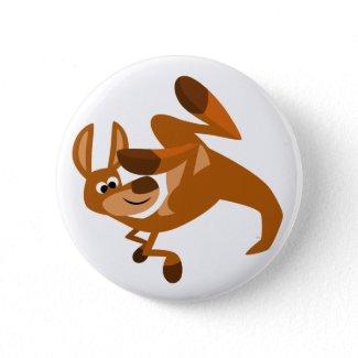 Cute Cartoon Kangaroo's Somersault Button Badge button
