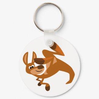 Cute Cartoon Kangaroo's Somersault Keychain keychain