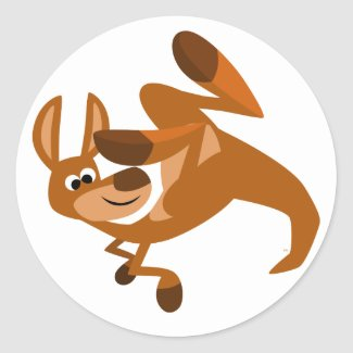 Cute Cartoon Kangaroo's Somersault Sticker sticker