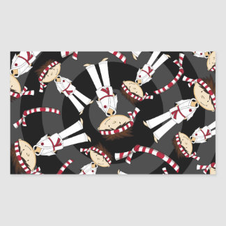 Cute Cartoon Karate Boy Pattern Rectangular Sticker