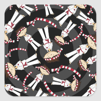 Cute Cartoon Karate Boy Pattern Square Sticker