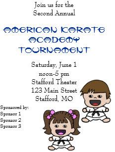 Karate tournament invitations announcements zazzle cute cartoon karate tournament invitation stopboris Images