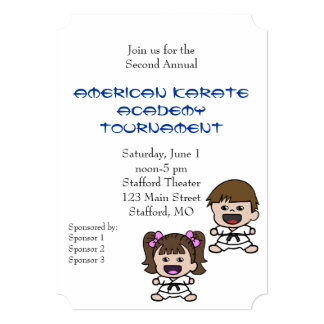 Cute Cartoon Karate Tournament Invitation