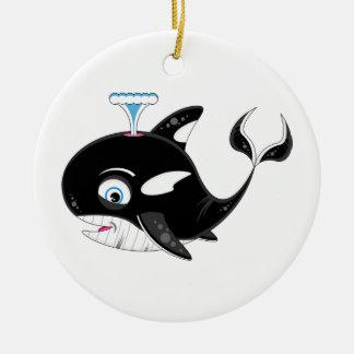 Cute Cartoon Killer Whale Ceramic Ornament