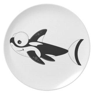 Cute Cartoon Killer Whale Dinner Plate