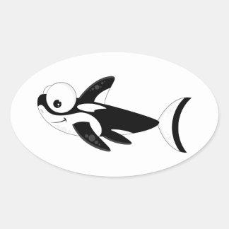 Cute Cartoon Killer Whale Oval Sticker