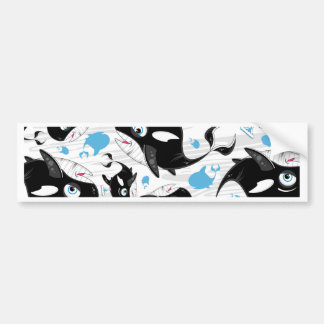 Cute Cartoon Killer Whale Pattern Bumper Sticker