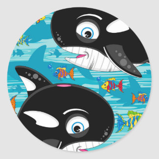 Cute Cartoon Killer Whale Pattern Classic Round Sticker