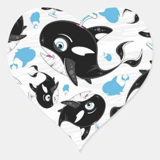 Cute Cartoon Killer Whale Pattern Heart Sticker