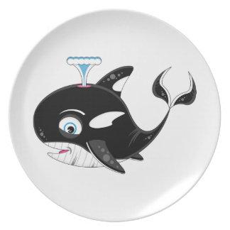 Cute Cartoon Killer Whale Plate