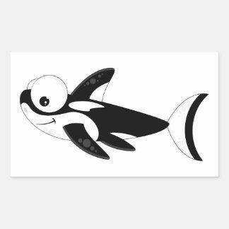 Cute Cartoon Killer Whale Rectangular Sticker