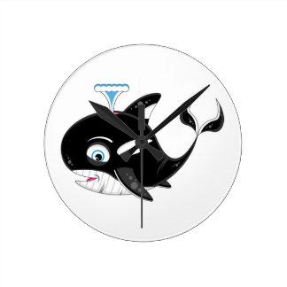 Cute Cartoon Killer Whale Round Clock