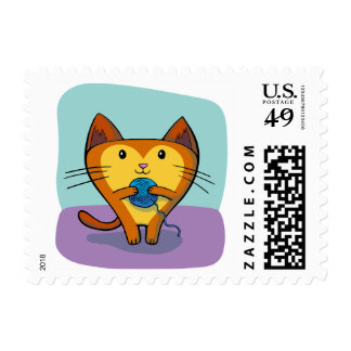 Cute Cartoon Kitten and Yarn Stamp
