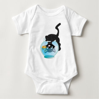 Cute Cartoon Kitten, Fish and bowl Baby Bodysuit