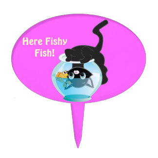 Cute Cartoon Kitten, Fish and bowl Cake Topper