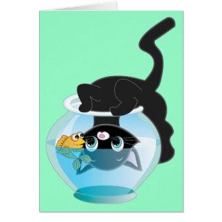 Cute Cartoon Kitten, Fish and bowl Card