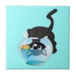 Cute Cartoon Kitten, Fish and bowl Ceramic Tiles