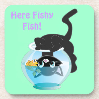 Cute Cartoon Kitten, Fish and bowl Beverage Coasters