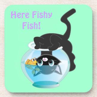 Cute Cartoon Kitten, Fish and bowl Drink Coasters