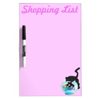 Cute Cartoon Kitten, Fish and bowl Dry-Erase Board