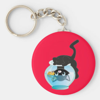 Cute Cartoon Kitten, Fish and bowl Basic Round Button Keychain
