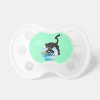 Cute Cartoon Kitten, Fish and bowl Pacifier