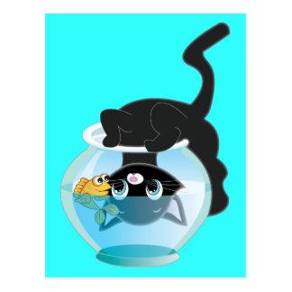 Cute Cartoon Kitten Fish and bowl Postcard
