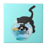 Cute Cartoon Kitten, Fish and bowl Small Square Tile