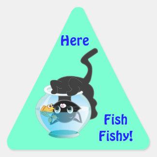 Cute Cartoon Kitten, Fish and bowl Stickers
