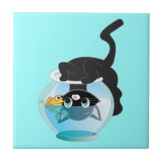 Cute Cartoon Kitten, Fish and bowl Tile