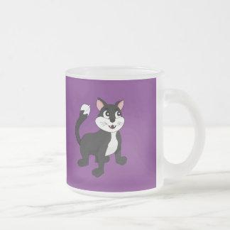 Cute cartoon kitten frosted glass coffee mug