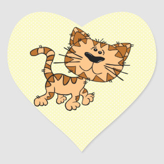 Cute Cartoon Kitty Cat Heart Sticker