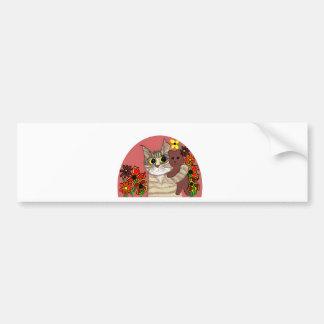 cute cartoon kitty holding sweet teddybear car bumper sticker
