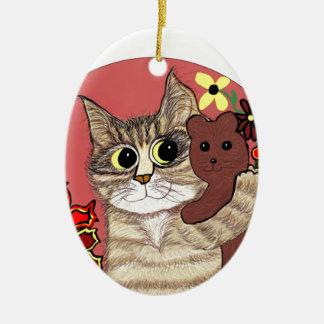 cute cartoon kitty holding sweet teddybear ceramic ornament