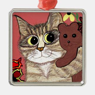 cute cartoon kitty holding sweet teddybear metal ornament