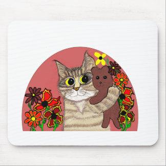 cute cartoon kitty holding sweet teddybear mousepad