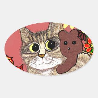 cute cartoon kitty holding sweet teddybear oval sticker