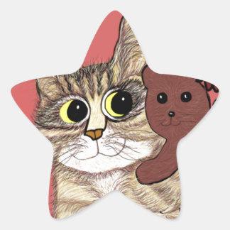 cute cartoon kitty holding sweet teddybear star sticker