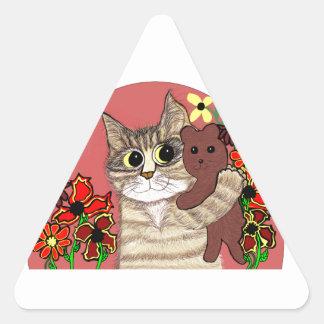 cute cartoon kitty holding sweet teddybear triangle sticker
