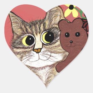 cute cartoon kitty holding sweet teddybear heart sticker