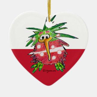Cute Cartoon Kiwi Heart Ornament