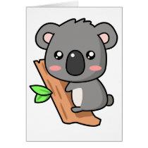Cute Cartoon Koala Bear on Eucalyptus Tree