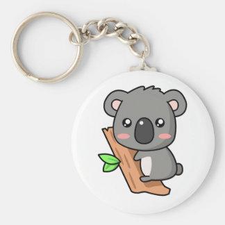 Cute Cartoon Koala Bear on Eucalyptus Tree Keychain