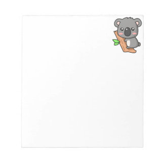 Cute Cartoon Koala Bear on Eucalyptus Tree Note Pad