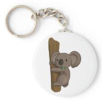 Cute Cartoon Koala Bear on Tree Eating Eucalyptus Keychain