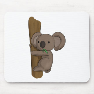 Cute Cartoon Koala Bear on Tree Eating Eucalyptus Mouse Pad