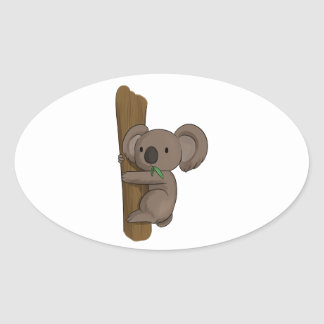 Cute Cartoon Koala Bear on Tree Eating Eucalyptus Oval Sticker