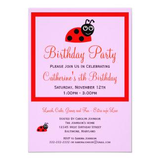 Cute Cartoon Ladybug Pink Girls Birthday 5x7 Paper Invitation Card